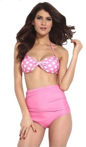 Brand New Pink and White Polkadots High-waisted Swimsuit