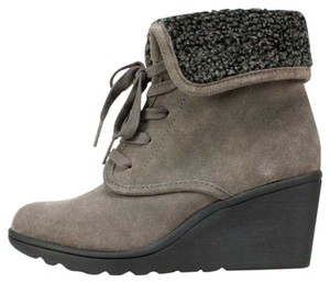 White Mountain Suede Wedge Water Resistant Lace-up Dark Charcoal Boots