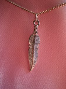 Unknown New Silvertone feather necklace