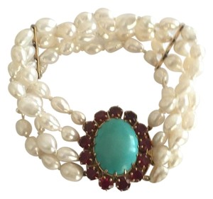 Other 18k Yellow Gold Cultured Peal With Turquoise & Red Stones