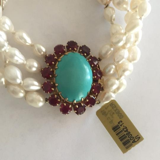 Other 18k Yellow Gold Cultured Peal With Turquoise & Red Stones Image 1
