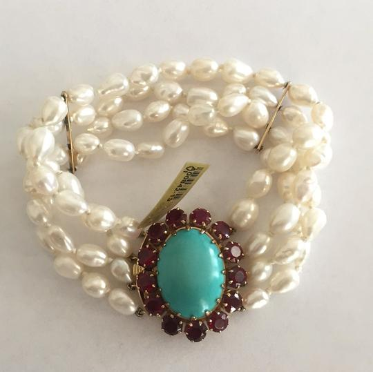 Other 18k Yellow Gold Cultured Peal With Turquoise & Red Stones Image 10