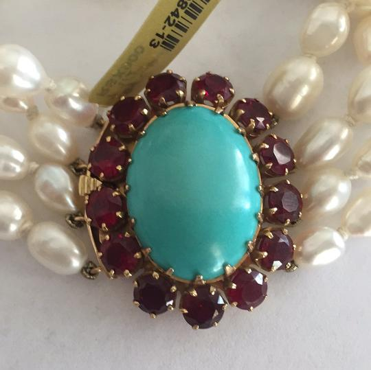 Other 18k Yellow Gold Cultured Peal With Turquoise & Red Stones Image 11