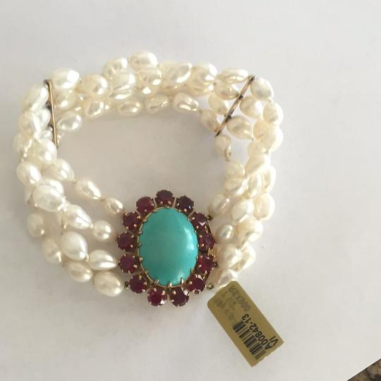 Other 18k Yellow Gold Cultured Peal With Turquoise & Red Stones Image 2