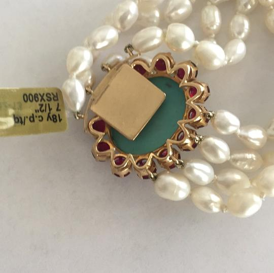 Other 18k Yellow Gold Cultured Peal With Turquoise & Red Stones Image 3