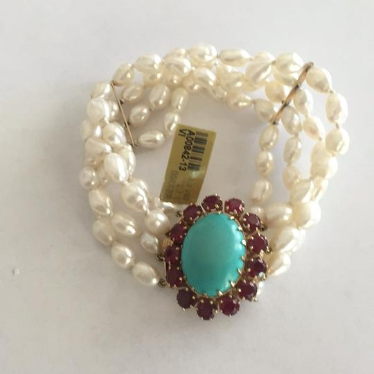 Other 18k Yellow Gold Cultured Peal With Turquoise & Red Stones Image 4