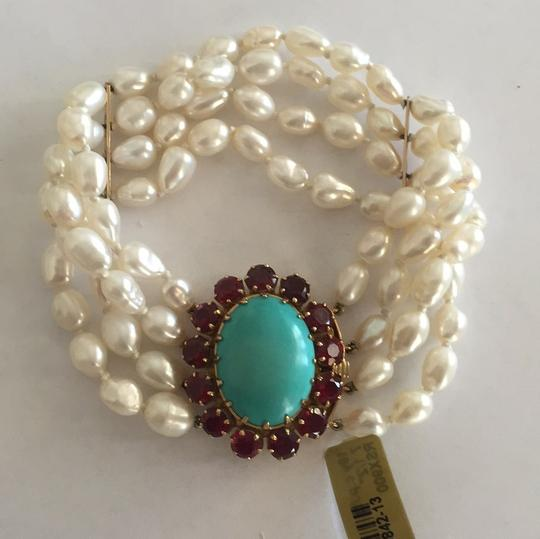 Other 18k Yellow Gold Cultured Peal With Turquoise & Red Stones Image 5