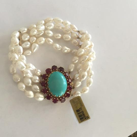Other 18k Yellow Gold Cultured Peal With Turquoise & Red Stones Image 6