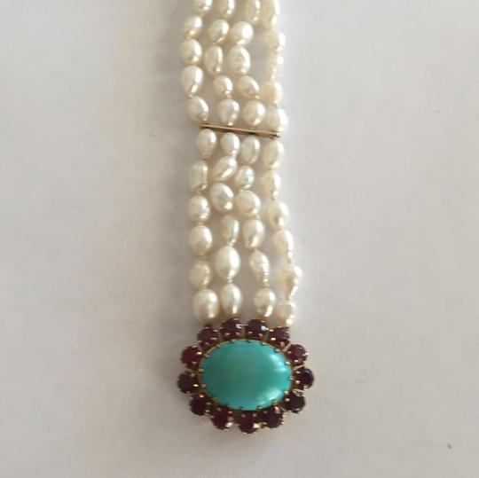 Other 18k Yellow Gold Cultured Peal With Turquoise & Red Stones Image 7
