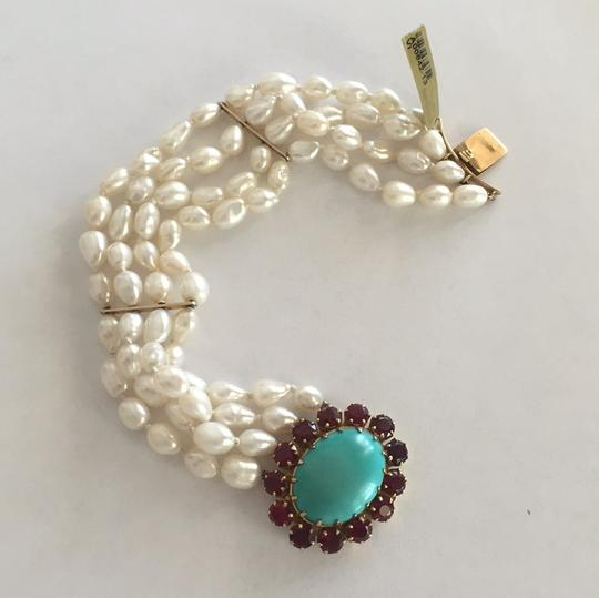 Other 18k Yellow Gold Cultured Peal With Turquoise & Red Stones Image 8