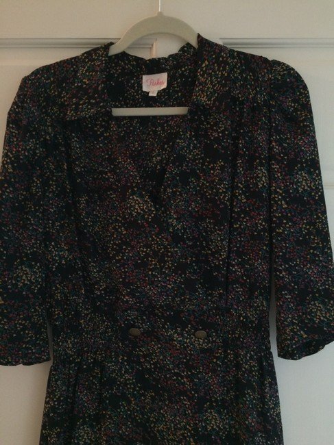 Parker short dress Black with floral print on Tradesy