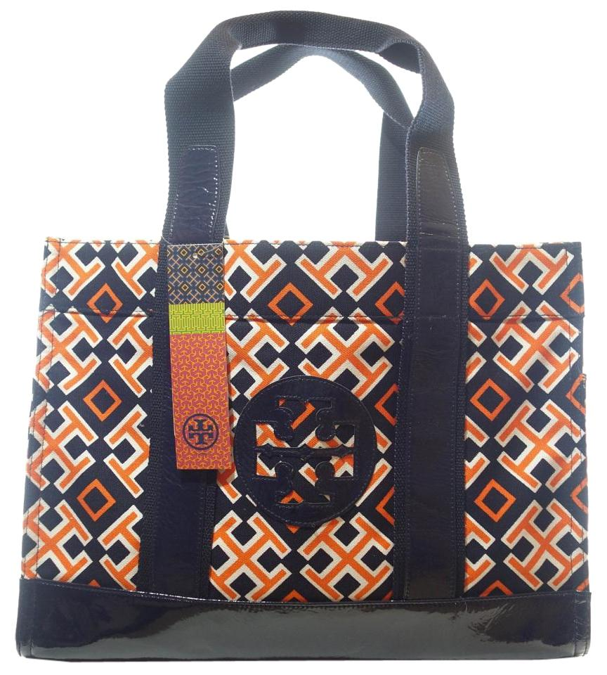 d64be1da38d Tory Burch 4t Medium Orange   Navy Printed Canvas Tote - Tradesy