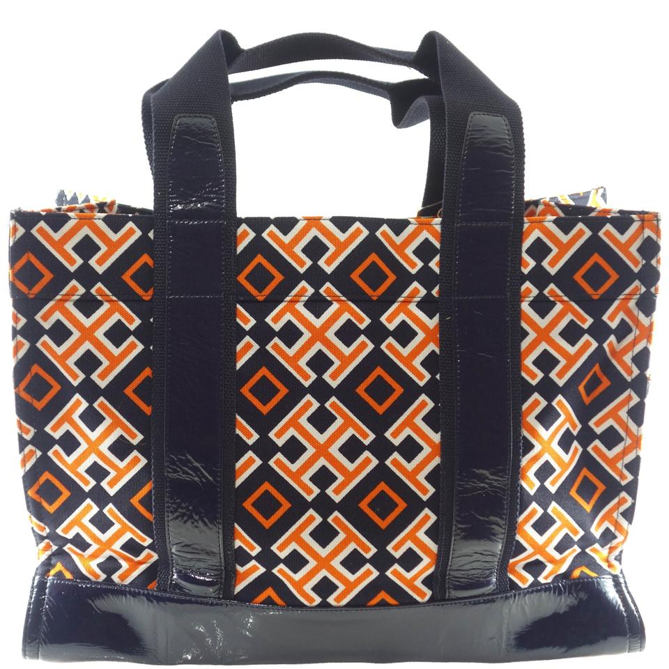 76e654368ec Tory Burch Printed Canvas Canvas Tote in Orange   navy Image 6. 1234567