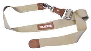 Marni Marni Canvas Belt with Leather Trim and Flower Embellishment