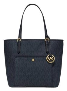 Michael Kors Jet Set Item Tote in Navy Gold tone
