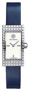 Tory Burch Tory Burch TRB2002 Rectangle Silver Dial Navy Italian Leather Watch