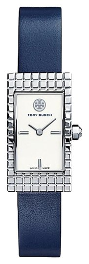 Preload https://img-static.tradesy.com/item/15615331/tory-burch-navy-blue-and-silver-trb2002-rectangle-dial-italian-leather-watch-0-1-540-540.jpg