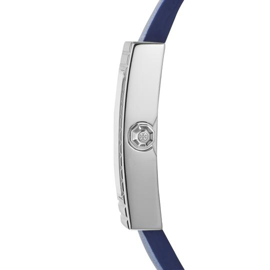 Tory Burch Tory Burch TRB2002 Rectangle Silver Dial Navy Italian Leather Watch Image 1