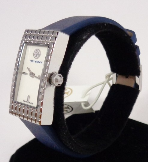 Tory Burch Tory Burch TRB2002 Rectangle Silver Dial Navy Italian Leather Watch Image 3