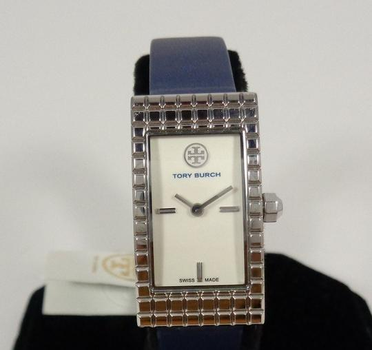 Tory Burch Tory Burch TRB2002 Rectangle Silver Dial Navy Italian Leather Watch Image 4
