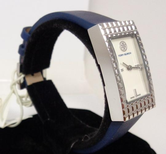Tory Burch Tory Burch TRB2002 Rectangle Silver Dial Navy Italian Leather Watch Image 5