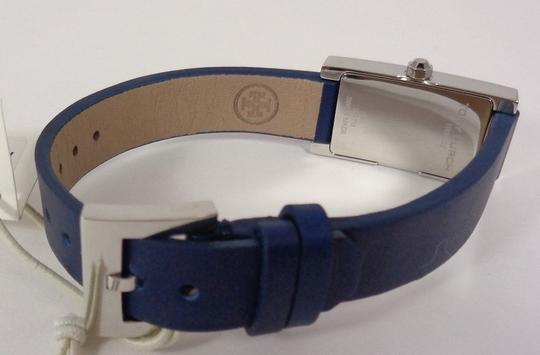Tory Burch Tory Burch TRB2002 Rectangle Silver Dial Navy Italian Leather Watch Image 8