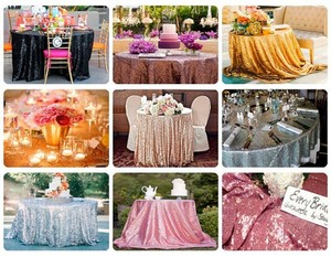 """Your Choice Lot Of 10 Sequin 120"""" Round Colors To From Glitter Sparkle Glam Bling Color Tablecloth"""