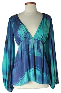 Alice + Olivia Silk Tie Dye Top Blue