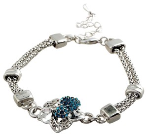 New Silver Tone Flower Bracelet Crystals Blue J2578