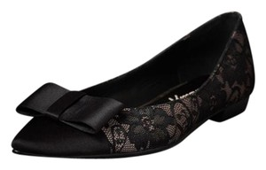 Anthropologie Beverly Feldman Bow Satin Nude and black lace Flats