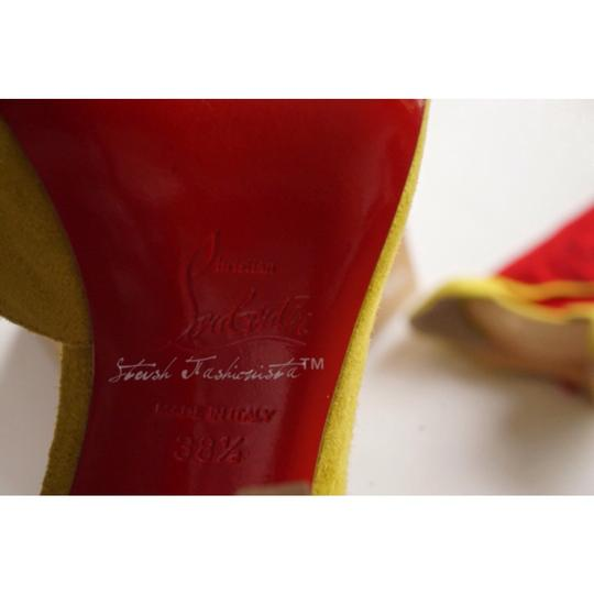 Christian Louboutin Suede Red Bottom Yellow Sandals
