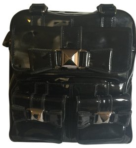 Betsey Johnson Patent Leather Studded Rocker Black Travel Bag