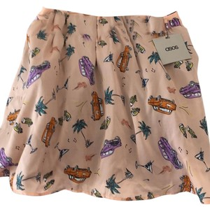 ASOS Mini Skirt Peach cars print orange purple