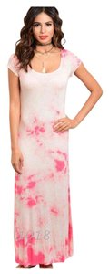 Pink & White Maxi Dress by Tank Summer Beach