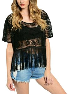 Other Boho Lace Fringe Hem Crop Top Black