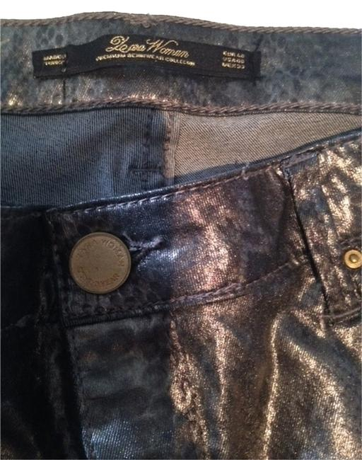Item - Charcoal Coated Shiny with Subtle Self Colour Animal Print Woman Capri/Cropped Jeans Size 29 (6, M)