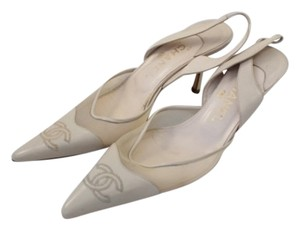 Chanel Slingback Pointed Toe Creme Cream Pumps