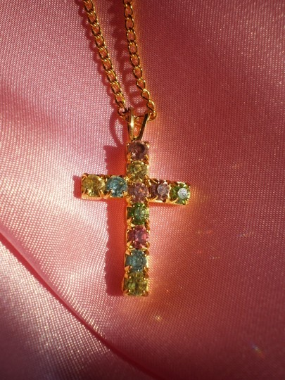 Other Vintage rhinestone cross necklace