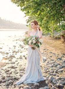BHLDN Pale Blue Textured Silk Chiffon Shell; Silk Charmeuse Lining Crashing Waves Destination Wedding Dress Size 8 (M)