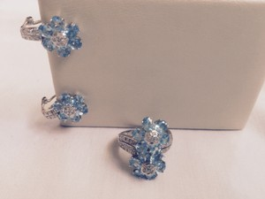 Diamonds Blue Topaz 14k White Gold Ring And Earrings