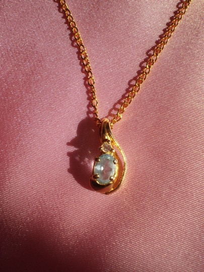 Other Like New Vintage aquamarine w/crystal necklace