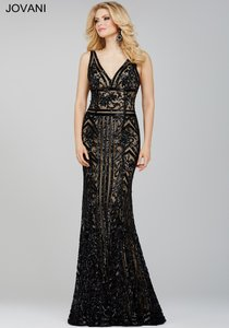 Jovani Black / Nude 33007 Sequin Art Deco Dress