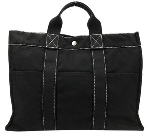 Herms Hermes Fourre Tote in Black with White Stitching