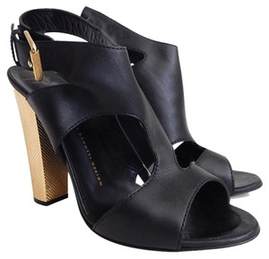 Giuseppe Zanotti Open Toe Cut Out Slingback Black Black/Gold Sandals