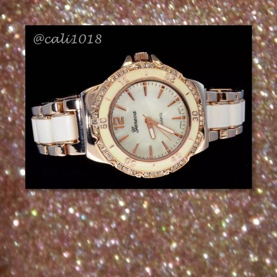 Other New Two Tone Copper & White Iced Out Bezel Elite Watch Image 1