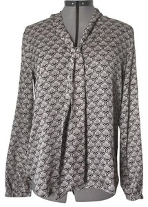 Ann Taylor LOFT Top Taupe and black print