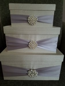 Ivory with Pearl Gray / Silver Ribbon Card Box Silk Duppioni Other