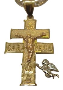 Estate Vintage Art Deco Stamped 14K 3-Tone Gold Huge Cross,1940s