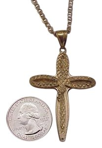 Estate Deco 10K Yellow Diamond Cut Gold Huge Cross,1940s
