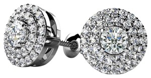 Avi and Co 0.51 cttw Round Brilliant Cut Diamond Double Halo Stud Earrings 14K White Gold